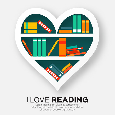 Bookshelves in the form of heart with colorful books. Reading. I love books.  Home library with literature, vector illustration Vectores