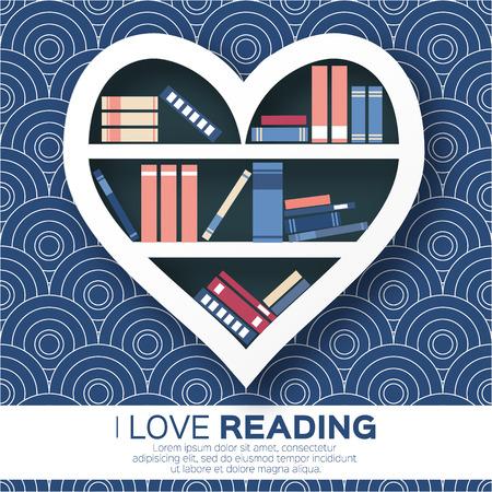 literatura: Estanterías en forma de corazón con libros de colores. Leyendo. Amo los libros. biblioteca en casa con la literatura, ilustración vectorial Vectores