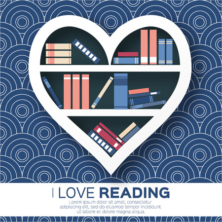 Bookshelves in the form of heart with colorful books. Reading. I love books.  Home library with literature, vector illustration Vettoriali