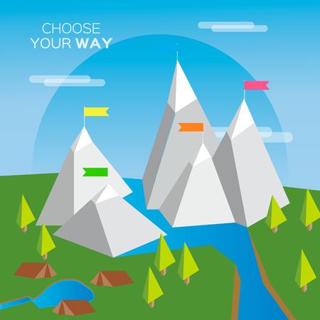 ベクター山フラット フラグ。あなたの選択方法。ミッション。成功の図。野生の自然。山の風景。キャンプや登山します。