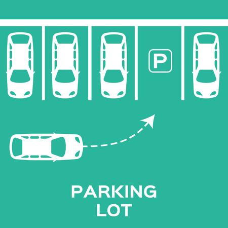 Vista superior de diseño Parking. Muchos coches estacionados. Ilustración del vector.