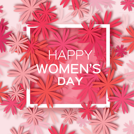 Abstract Red Floral Greeting card - International Happy Women's Day - 8 March holiday background with paper cut Frame Flowers. Trendy Design Template. Vector illustration.