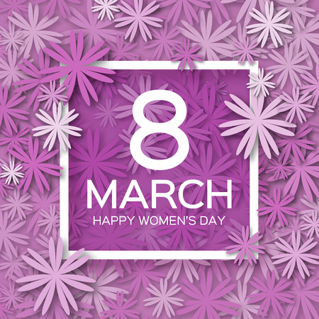 international people: Abstract Purple Floral Greeting card - International Happy Womens Day - 8 March holiday background with paper cut Frame Flowers. Trendy Design Template. Vector illustration.