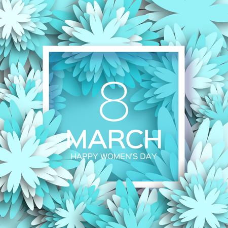 Tarjeta de felicitación abstracta floral azul - Feliz Día Internacional de la Mujer - 8 de marzo de fondo de vacaciones con Marco de las flores de corte de papel. De moda plantilla de diseño. Ilustración del vector. Ilustración de vector