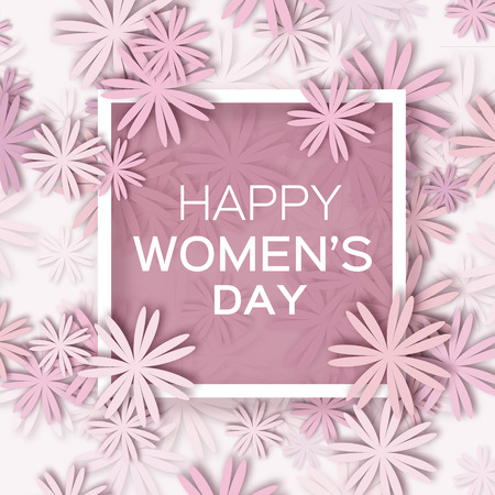 Abstract Pastel Floral Greeting card - International Happy Women's Day - 8 March holiday background with paper cut Frame Flowers. Trendy Design Template. Vector illustration. Vettoriali