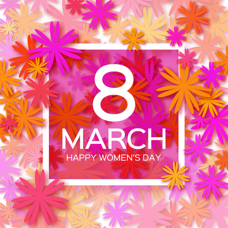 Abstract Pink Floral Greeting card - International Happy Women's Day - 8 March holiday background with paper cut Frame Flowers. Trendy Design Template. Vector illustration. Vectores
