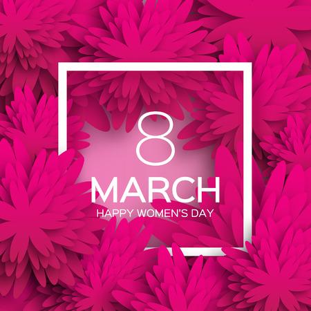 florale: Abstrakte rosa Blumengrußkarte - Internationale glückliche Frauentag - 8. März Urlaub Hintergrund mit Papier schneiden Rahmen Blumen. Trendy Design-Vorlage. Vektor-Illustration.
