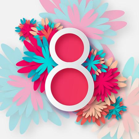 Resumen de la tarjeta de felicitación floral con el 8 de marzo de flores - tarjeta de felicitación estilo de corte de papel, tarjeta de regalo. Internacional