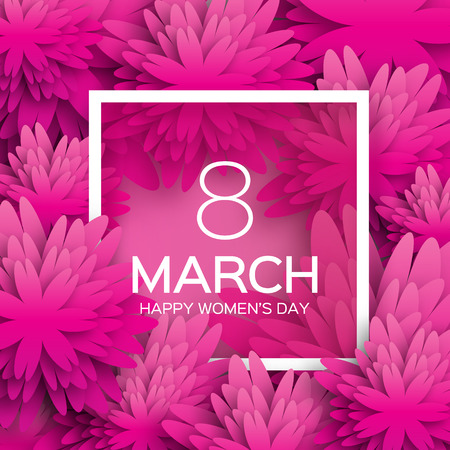 Abstract Pink Floral Greeting card - International Happy Women's Day - 8 March holiday background with paper cut Frame Flowers. Trendy Design Template. Vector illustration. 矢量图像