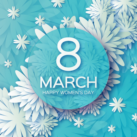 8 march: Abstract Floral Greeting card - International Happy Womens Day - 8 March holiday background with paper cut Frame Flowers. Illustration