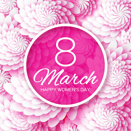 Abstract Pink Floral Greeting card - International Happy Women's Day - 8 March holiday background with paper cut Frame Flowers.