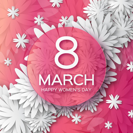 8 march: Abstract White Pink Floral Greeting card - International Happy Womens Day - 8 March holiday background with paper cut Frame Flowers. Happy Mothers Day. Happy GrandMothers Day. Trendy Design Template. Vector illustration.