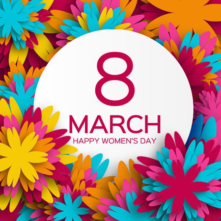 day: Abstracto colorido tarjeta de felicitación floral - Feliz Día Internacional de la Mujer - 8 de marzo de fondo de vacaciones con Marco de las flores de corte de papel.