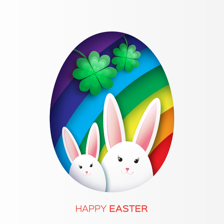 irish easter: Greeting card with Happy Easter - with white Easter rabbit, rainbow and clover. Spring Funny Bunny.