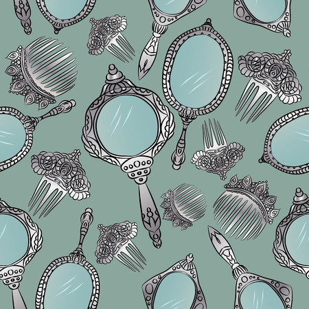 Silver vintage Hand Mirror and Hair Combs seamless pattern. Round, ellipse, oval hand mirrors. Vector illustration.