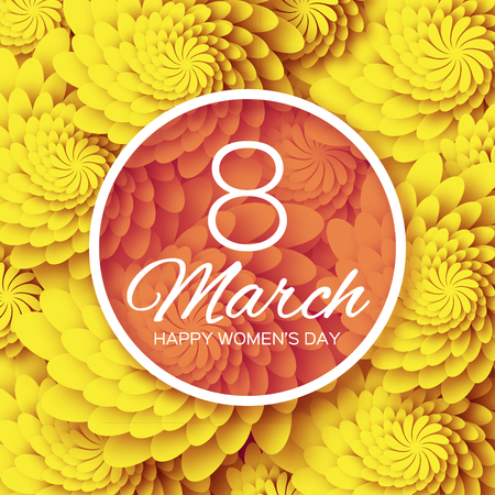 Abstract Floral Greeting card - International Happy Women's Day - 8 March holiday background with paper cut Frame Flowers. Happy Mother's Day. Happy GrandMother's Day. Trendy Design Template. Vector illustration.