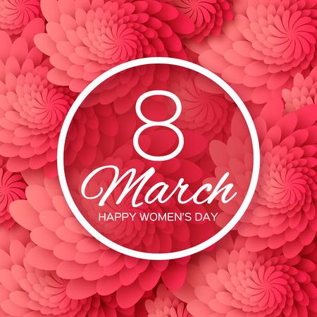 Floral Rouge Abstrait Carte de voeux - Journée internationale de la femme Happy - 8 Mars vacances fond avec cadre papier découpé Fleurs. Joyeuse fête des mères. Jour Grandmother Heureux. Template Design Trendy. Vector illustration.