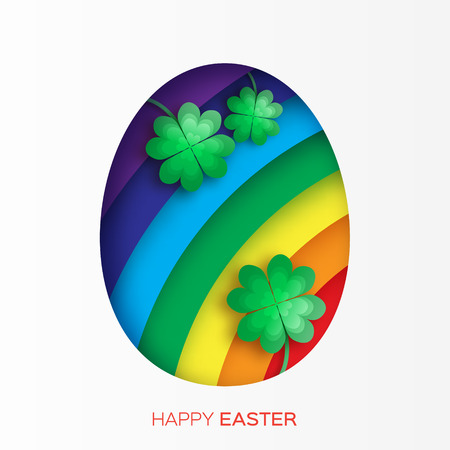 irish easter: Greeting card with Happy Easter - with Easter Egg,rainbow and clover. Vector illustration