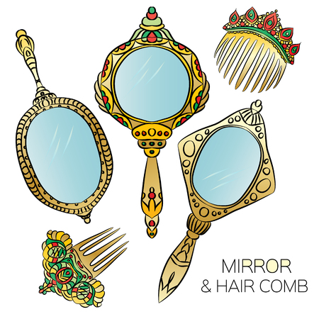combs: Set of five gold vintage Hand Mirror and Hair Combs . Round, ellipse, oval hand mirrors with gemstone. Vector illustration.