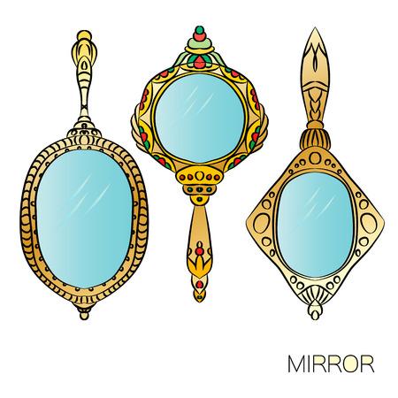 hand mirror: Set of three gold vintage Hand Mirror. Round, ellipse, oval hand mirrors. Vector illustration.