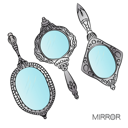 hand mirror: Set of three silver vintage Hand Mirror. Illustration