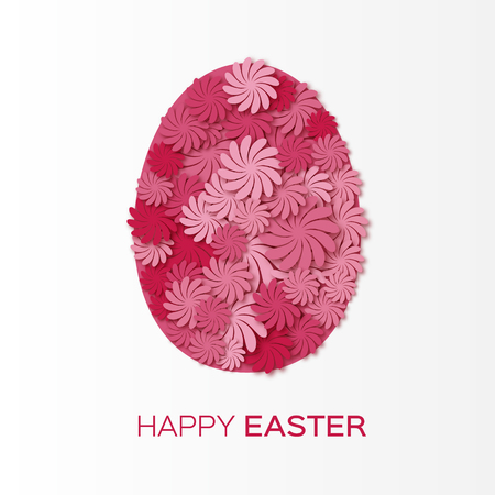Greeting card with Happy Easter - with pink flower Easter Egg. Vector design illustration