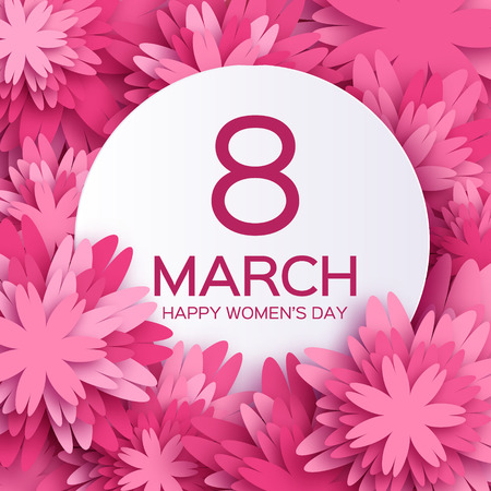 Abstract Pink Floral Greeting card - International Happy Womens Day - 8 March holiday background with paper cut Frame Flowers.