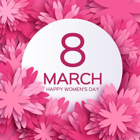 femme romantique: Rose floral abstrait Carte de voeux - Journ�e internationale de la femme Happy - 8 Mars vacances fond avec cadre papier d�coup� Fleurs. Illustration