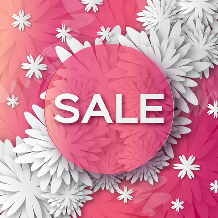 offer: Abstract Spring Summer Sale colorful banner for business. Applique Card with origami flowers. Offers message. Illustration