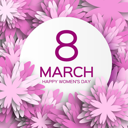 Abstract Purple Floral Greeting card - International Happy Women's Day - 8 March holiday background with paper cut Frame Flowers.