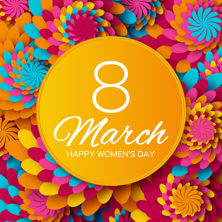 greeting people: Abstract Colorful Floral Greeting card - International Happy Womens Day - 8 March holiday background with paper cut Frame Flowers. Illustration