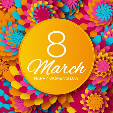 personas saludandose: Abstracto colorido tarjeta de felicitación floral - Feliz Día Internacional de la Mujer - 8 de marzo de fondo de vacaciones con Marco de las flores de corte de papel.