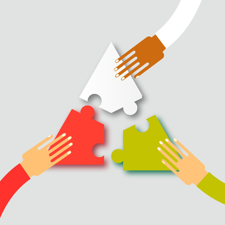 Three hands together team work. Hands putting puzzle pieces. Teamwork and bussiness concept. Hands of different colors, cultural and ethnic diversity. Vector illustration