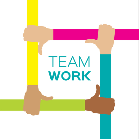 teamwork  together: Four hands together team work.  Hands of different colors, cultural and ethnic diversity. Vector illustration