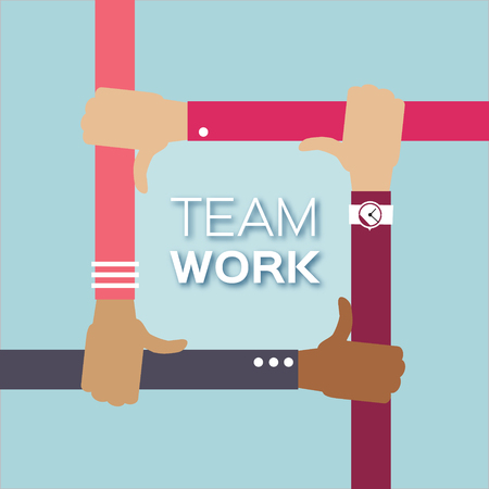 four hands: Four hands together team work.  Hands of different colors, cultural and ethnic diversity. Vector illustration