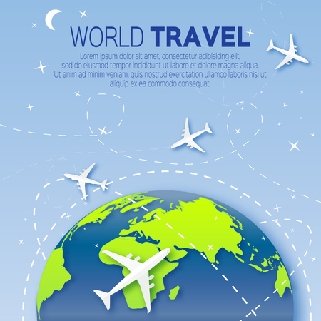 top of the world: Travel around the World map background . With top view airplane and sky. Vector illustration design.