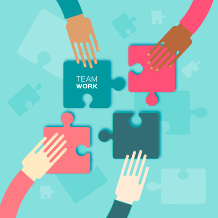 four hands: Four hands together team work. Hands putting puzzle pieces. Teamwork and bussiness concept. Hands of different colors, cultural and ethnic diversity. Vector illustration