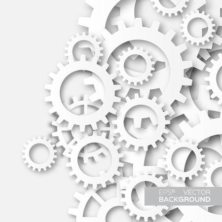 ingeniería: ruedas dentadas del sistema de mecanismo. engranajes blancos. proyecto de estilo de la tecnología de corte de papel de Origami. Vectores