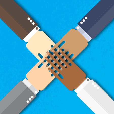 four hands: Four hands together team work. Paper cut Hands of different colors, cultural and ethnic diversity. Vector illustration