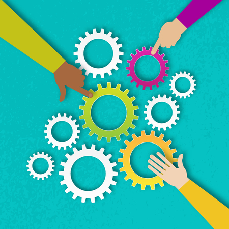 People hands hold colorful gears - mechanism system.Cogwheels.Three hands together team work. Hands putting gears pieces. Teamwork and business concept. Hands of different colors, cultural and ethnic diversity. Vector illustration