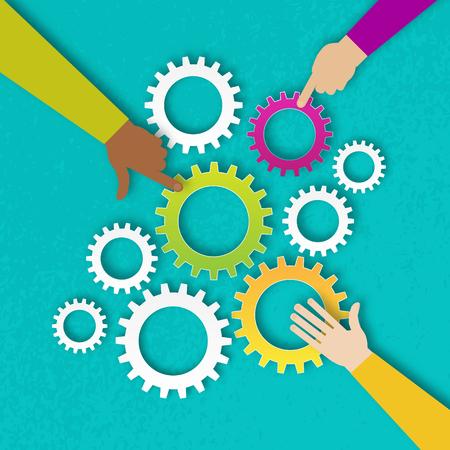 人の手は、カラフルな歯車機構を保持します。Cogwheels.Three 手一緒にチームの仕事です。 歯車部分を入れての手。チームワークとビジネス コンセプトです。さまざまな色、文化的・民族的多様性の手。ベクトル図