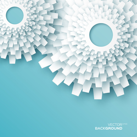 Applique White Flower gears - dandelion. Cogwheels -origami paper cut style vector background