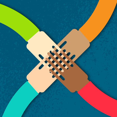 join hands: Four hands together team work. Paper cut Hands of different colors, cultural and ethnic diversity. Vector illustration