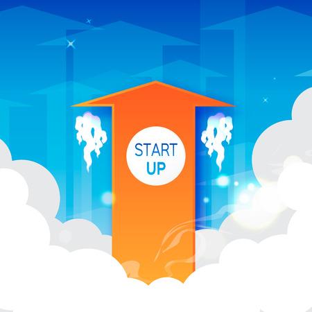 way up: Start up arrow symbol on blue background. Way to success, arrow up. Orange arrows going up - success concept illustration Illustration