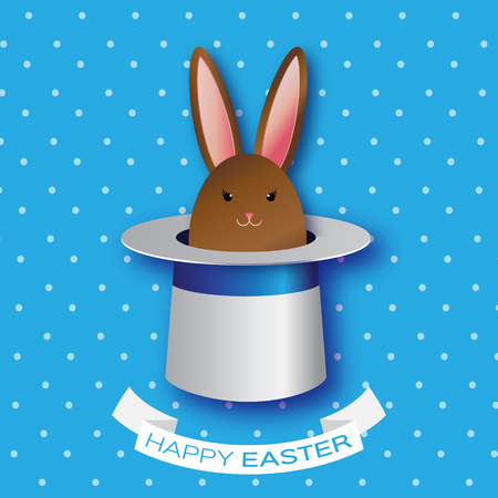 illusionist: Origami Blue Greeting card with Happy Easter - with Chocolate Easter rabbit. Bunny ears in magician or illusionist hat. Hiding rabbit. Spring Funny Bunny. Easter Bunny. Easter Egg