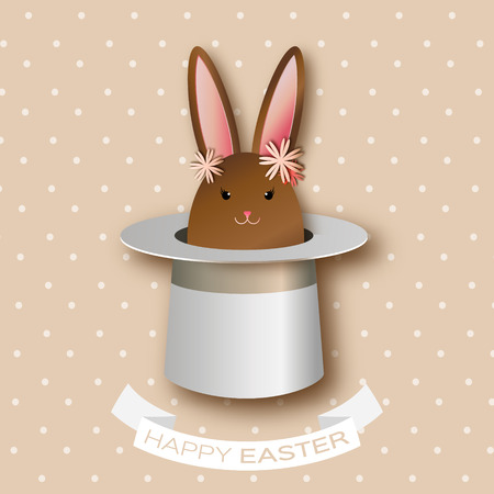 illusionist: Origami Coffee Greeting card with Happy Easter - with Chocolate  Easter rabbit and flowers. Bunny ears in magician or illusionist hat.Hiding rabbit. Spring Funny Bunny. Easter Bunny. Easter Egg