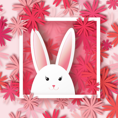 applique flower: Origami Greeting card with Happy Easter - with white Easter rabbit on floral background. Spring Funny Bunny with applique red and pink flower and square frame. Easter Bunny. Easter Egg Illustration