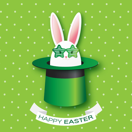 illusionist: Origami Green Greeting card with Happy Easter - with white Easter rabbit with green star sunglasses. Bunny ears in magician or illusionist hat. Hiding rabbit. Spring Funny Bunny. Easter Bunny. Easter Egg Illustration