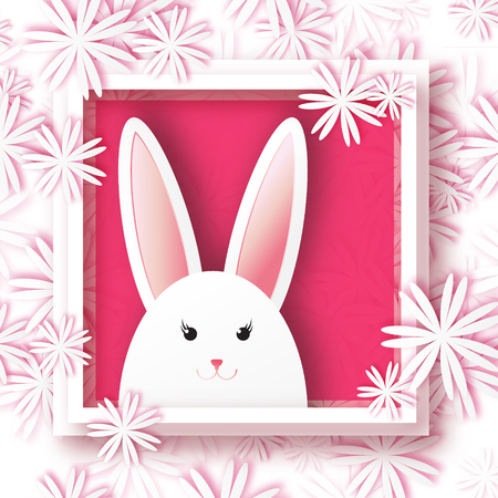 applique flower: Origami Greeting card with Happy Easter - with white Easter rabbit on floral background. Spring Funny Bunny with applique white flower and square frame. Easter Bunny. Easter Egg Illustration