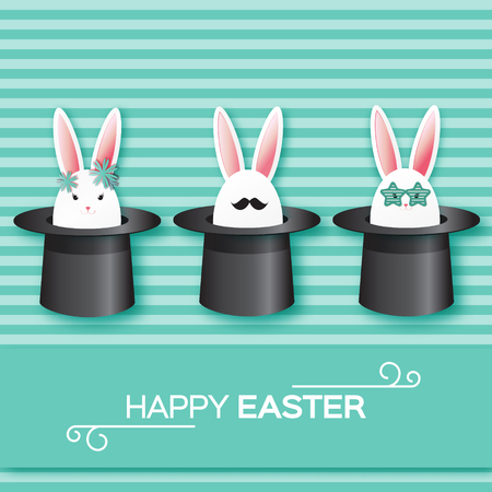 illusionist: Origami Green Greeting card with Happy Easter - with White Easter rabbit and sunglasses,mustache. Bunny ears in magician or illusionist hat. Hiding rabbit.Spring Funny Bunny. Easter Bunny. Easter Egg